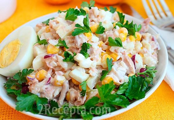 Салат с тунцом, кукурузой и рисом - пошаговый рецепт с фото