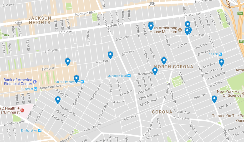 The 13 locations hit in the burglary pattern. (Map via Google Maps)