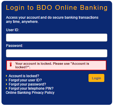 BDO-Online-Banking -Account-Locked