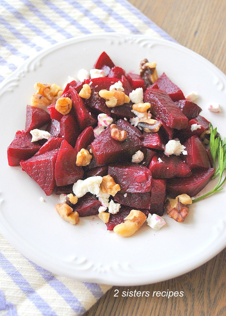 EASY Beets Salad with Goat Cheese and Walnuts by 2sistersrecipes.com