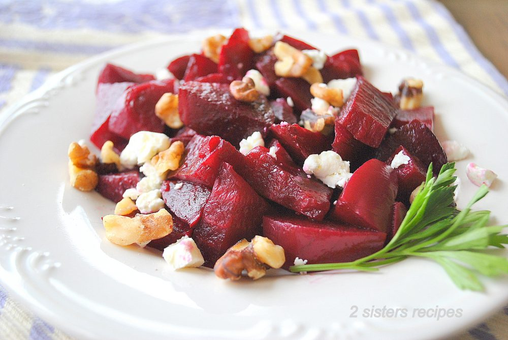 EASY Beets, Goat Cheese and Walnut Salad by 2sistersrecipes.com