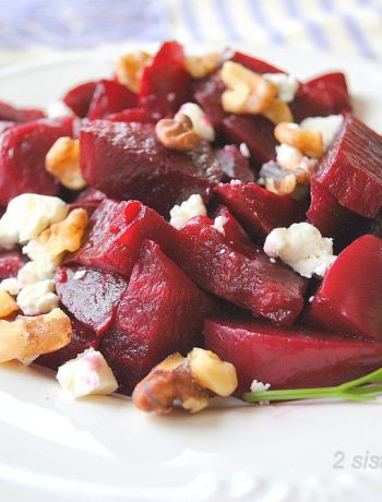 EASY Beet Salad with Goat Cheese and Walnuts by 2sistersrecipes.com