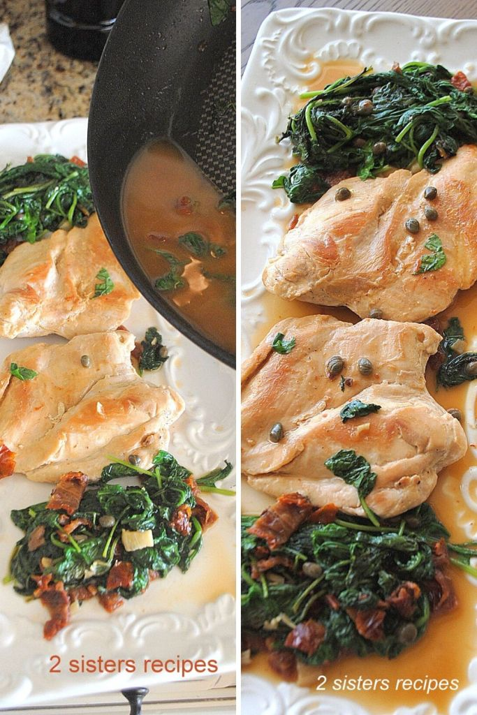 Chicken with Arugula and Wine by 2sistersrecipes.com