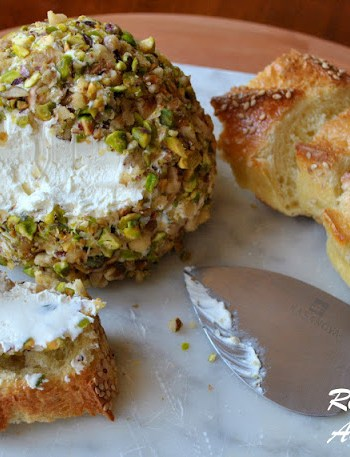 Goat Cheese Pistachio and Walnut Ball 2sistersrecipes.com