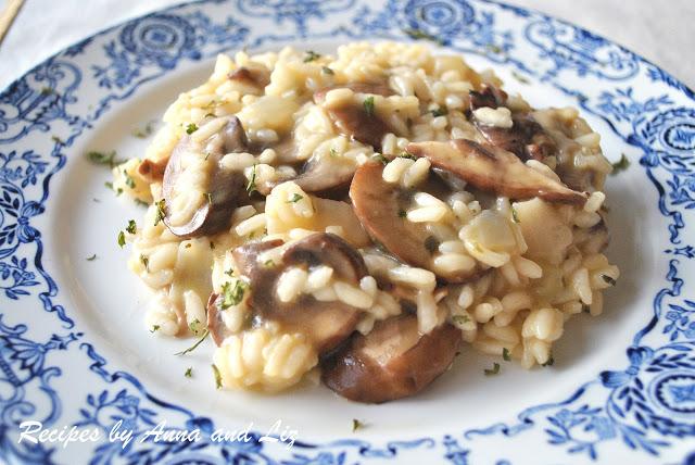 Risotto con Funghi, Mushrooms by 2sistersrecipes.com