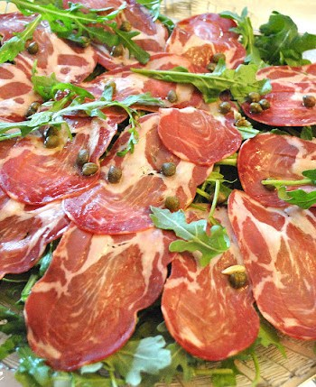 Italian Capocollo with Arugula, Lemon and Capers by 2sistersrecipes.com