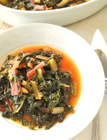 Swiss Chard Steamed with Tomatoes, Garlic and Olive Oil by 2sistersrecipes.com