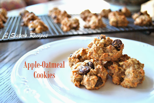 Apple-Oatmeal Cookies by 2sistersrecipes.com
