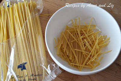Broken spaghetti for the squash sauce. by 2sistersrecipes.com