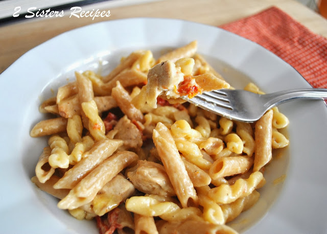 Pasta with Chicken, Sun Dried Tomatoes in a Creamy Wine Sauce by 2sistersrecipes.com