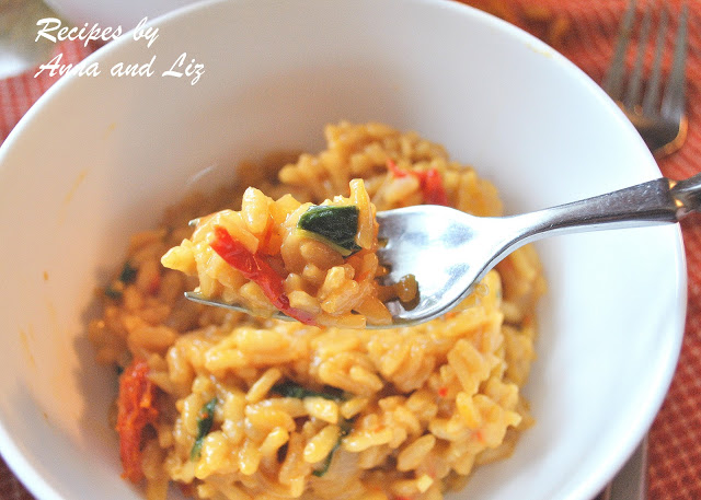 Risotto with Sundried Tomatoes, Basil and Marsala Wine by 2sistersrecipes.com ,