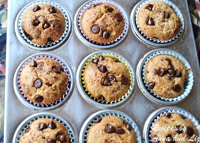 Banana Chocolate Chip Muffins by 2sistersrecipes.com