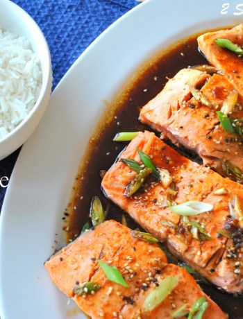 Pan Seared Salmon with Teriyaki Ginger Sauce by 2sistersrecipes.com