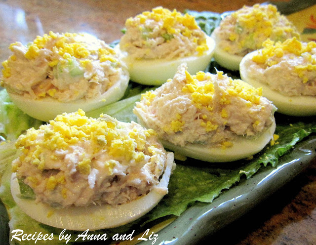 Tuna Stuffed Deviled Eggs by 2sistersrecipes.com