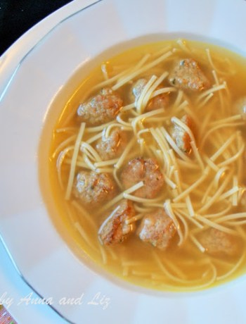 Chicken Noodle Soup with Mini Meatballs by 2sistersrecipes.com