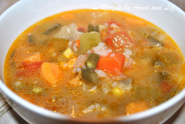 Hearty Vegetable and Rice Soup by 2sistersrecipes.com