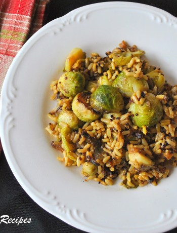 Sauteed Brussels Sprouts with Quinoa by 2sistersrecipes.com