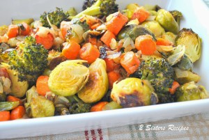 Oven-Roasted Brussels Sprouts, Carrots, Broccoli and Italian Bacon by 2sistersrecipes.com