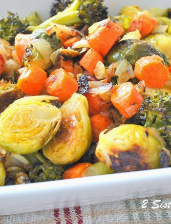 Oven Roasted Brussels Sprouts, Carrots, Broccoli and Italian Bacon by 2sistersrecipes.com