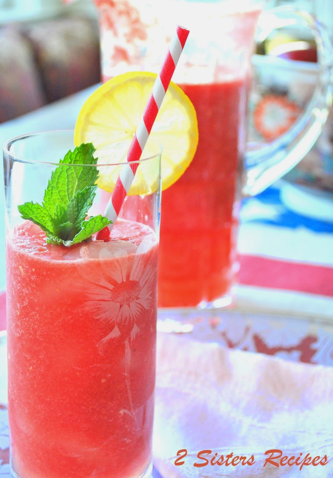 Fresh Watermelon Lemonade Drink by 2sistersrecipes.com