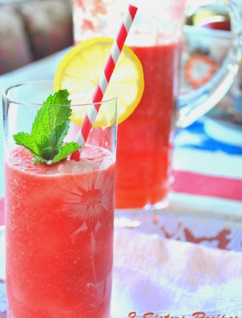 Fresh Watermelon Lemonade by 2sistersrecipes.com