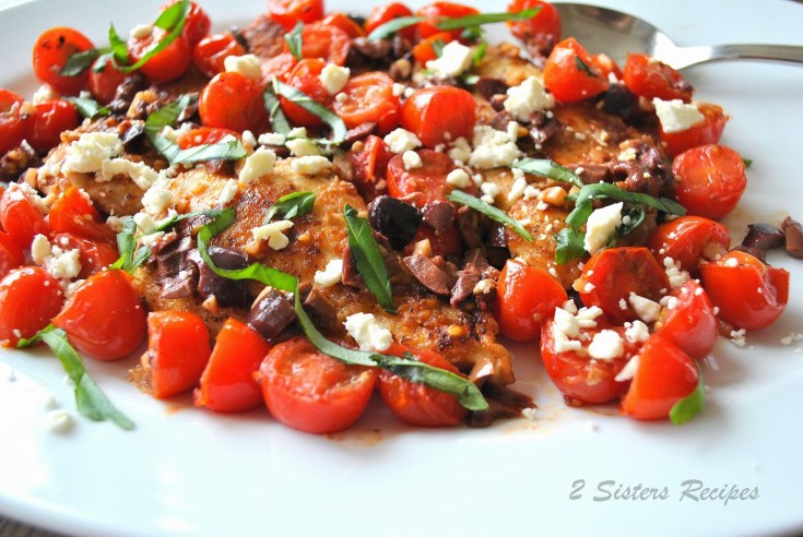 Sauteed Chicken Cutlets with Cherry Tomatoes, Olives, Feta, and Basil