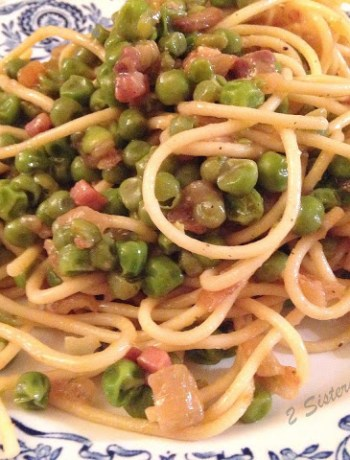 Spaghetti Tossed with Peas, Onions and Pancetta by 2sistersrecipes.com