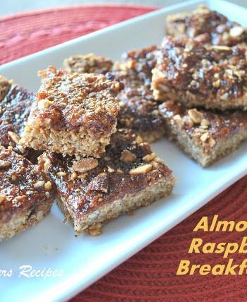 Almond Raspberry Breakfast Bars by 2sistersrecipes.com