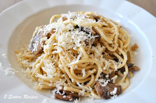 Bucatini with Truffle Oil and Ricotta Salata by 2sistersrecipes.com