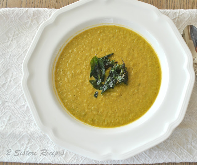 Cauliflower Kale Soup with Crunchy Kale Topping
