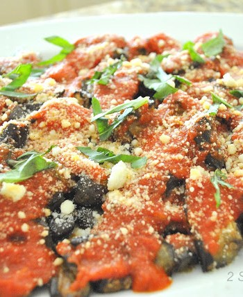 Roasted Eggplant Parm -Lightened! by 2sistersrecipes.com