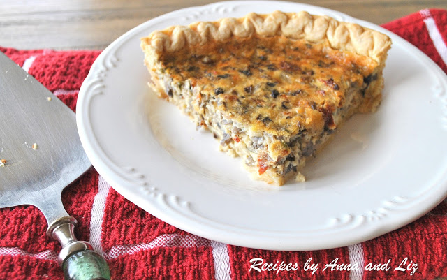 Mushroom and Sundried Tomato Quiche by 2sistersrecipes.com