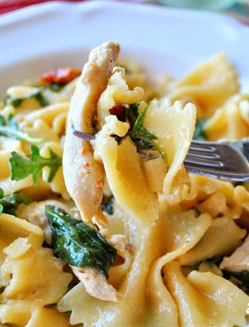 Farfalle with Chicken, Caper, Sundried Tomatos and Spinach by 2sistersrecipes.com