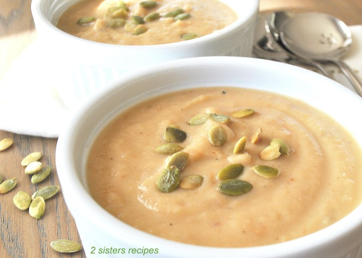 Roasted Garlic Parsnip White Bean Soup by 2sistersrecipes.com