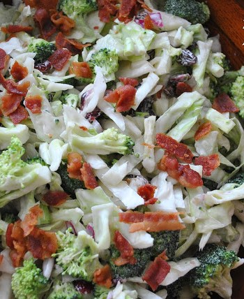 Crunchy Broccoli Raisins nd Walnut Salad, by 2sistersrecipes.com