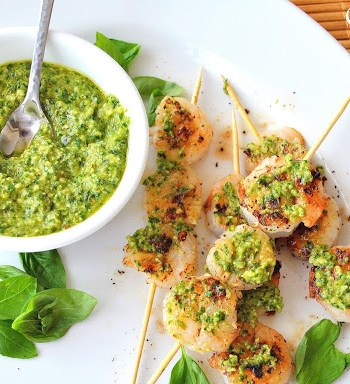 Grilled Shrimp Kabobs with Arugula-Walnut Pesto by 2sistersrecipes.com
