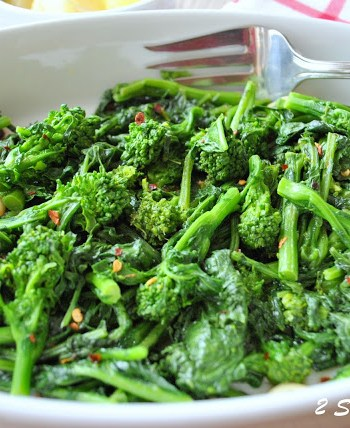 Broccoli Rabe Steamed and Sauteed, by 2sistersrecipes.com