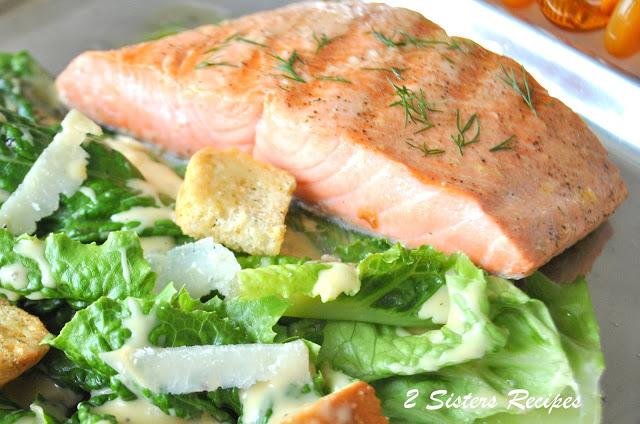 Grilled Salmon Caesar's Salad, by 2sistersrecipes.com