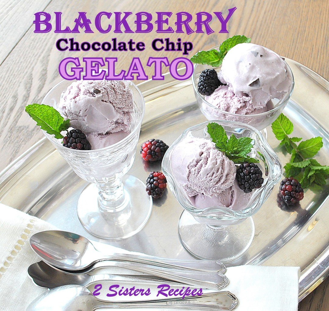 Blackberry Chocolate Chip Gelato by 2sistersrecipes.com