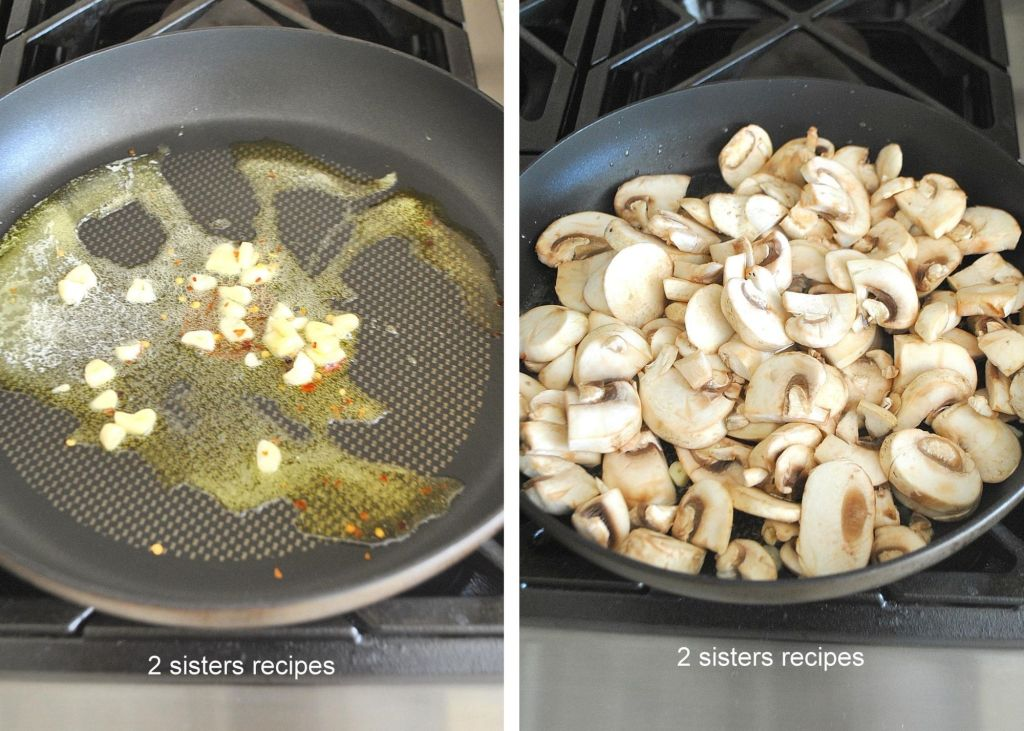 Mushrooms in a skillet by 2sistersrecipes.com