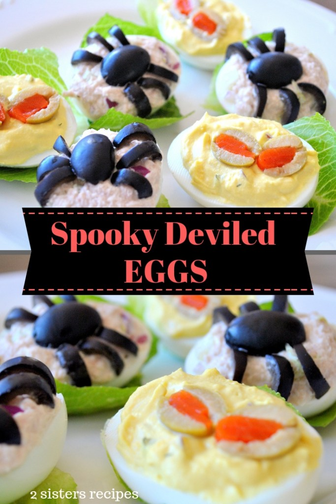 Spooky Deviled Eggs by 2sistersrecipes.com