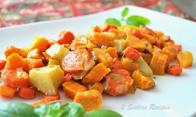 Oven Roasted Sweet Potatoes with Carrots and Pancetta by 2sistersrecipes.com