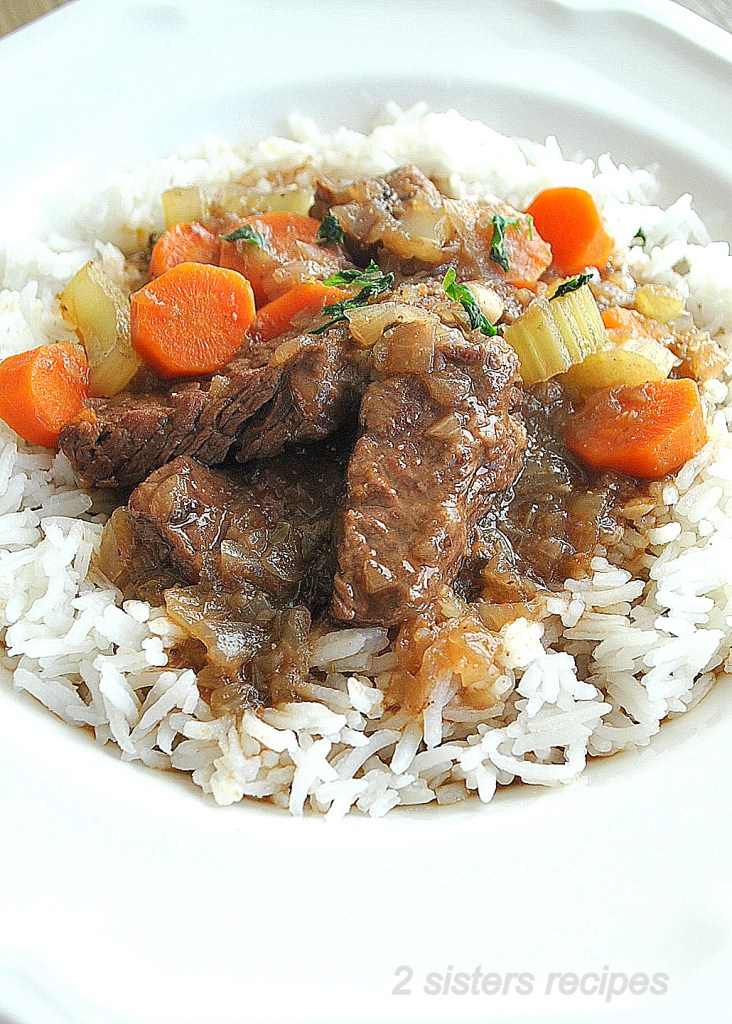 Beef Stew in Half the Time! Served with Rice by 2sistersrecipes.com