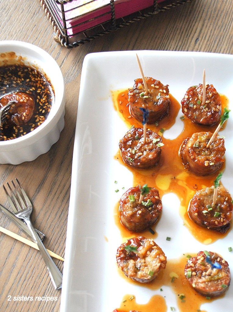 Sausage Bites with Sweet & Sour Dipping Sauce by 2sistersrecipes.com