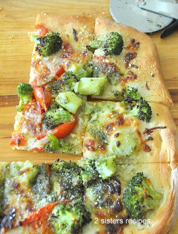 Broccoli Tomato Pesto Pizza by 2sistersrecipes.com