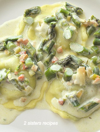 Spinach Ravioli with White Cream Asparagus Sauce by 2sistersrecips.com