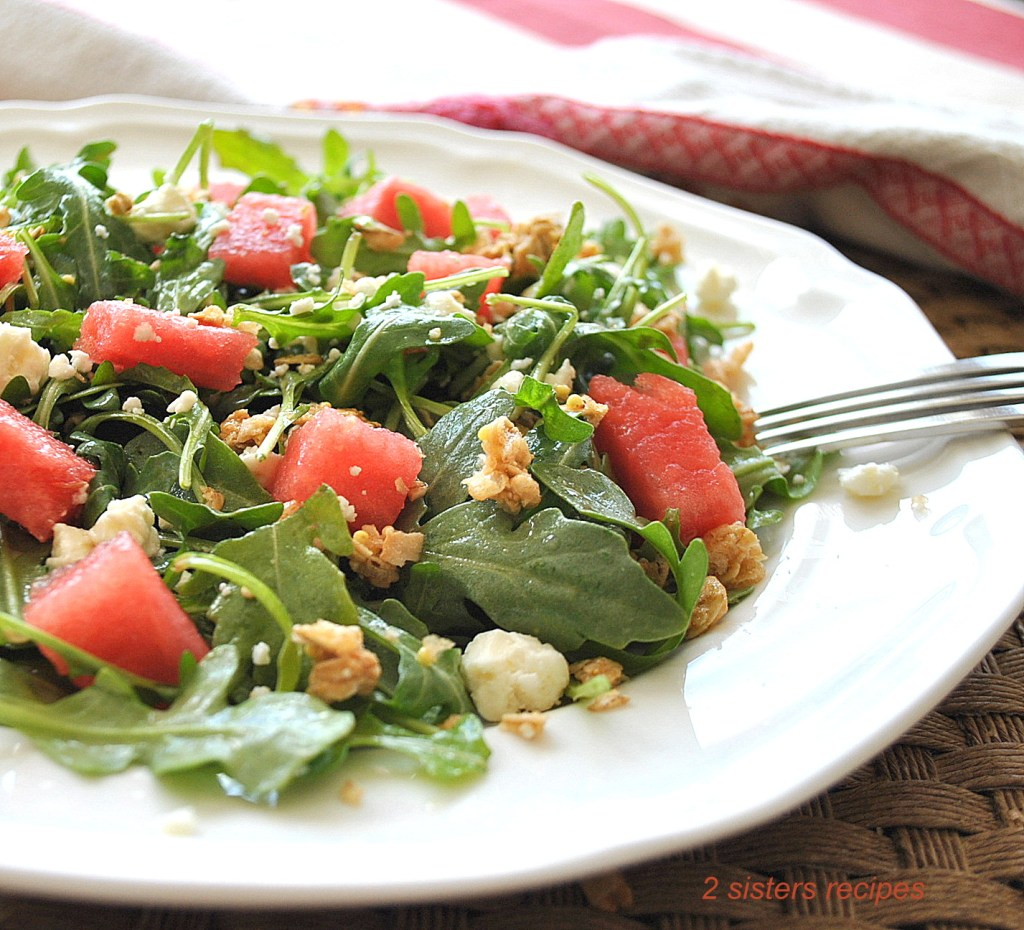 Baby Arugula Watermelon Granola Salad by 2sistersrecipes.com