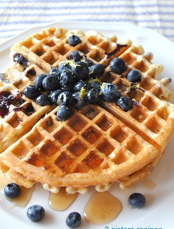 Light & Fluffy Lemon Blueberry Waffles by 2sistersrecipes.com