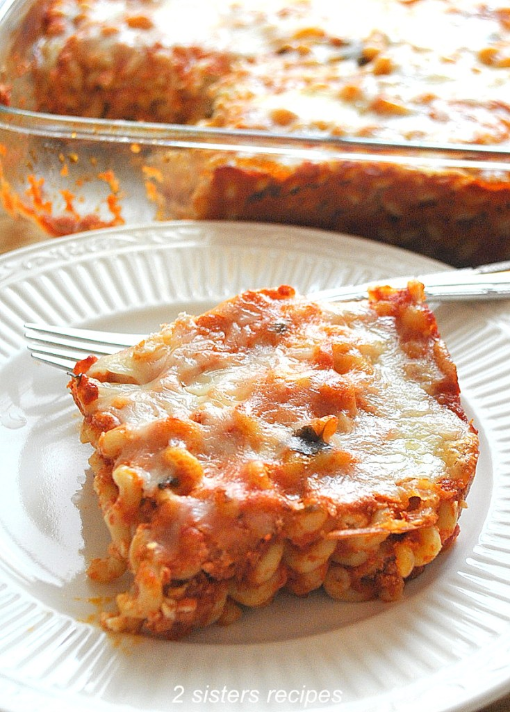 Easy Baked Long Fusilli Casserole by 2sistersrecipes.com
