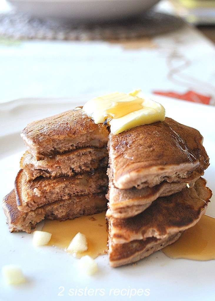 Apple Cinnamon Pancakes by 2sistersrecipes.com